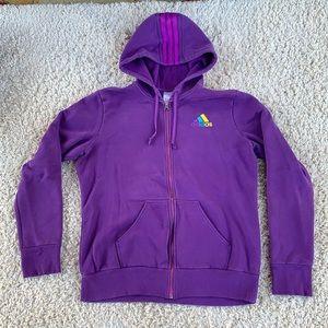 Adidas Full Zip Striped Hood Sweatshirt Hoodie